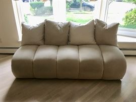 Pair silk sofas