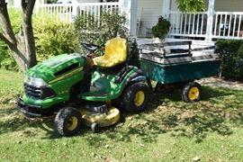 John Deere tractor with cart