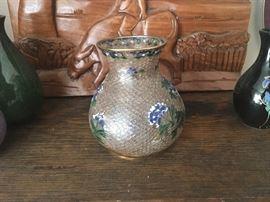 Glass Cloisonné Vase