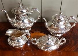 """Gorham 4 Piece Sterling """"Buttercup"""" Coffee and Tea Set"""