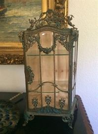 Brass and Beveled Glass 19thC French Miniature  Vitrine