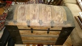 Antique dome top steamer trunk with removable tray, cedar lined. Good condition