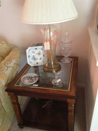 One of two side tables match the coffee table & sofa table