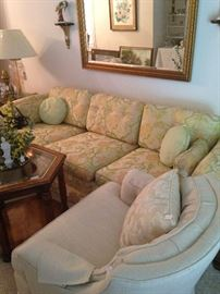 Another sofa and club chair; framed mirror