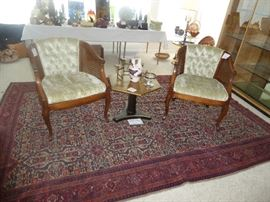 ORIENTAL RUG & CANE SIDE CHAIRS