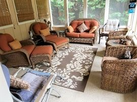 Wicker Patio Furniture (Two Sets - Set w/ Orange Cushions has sold pre-sale)