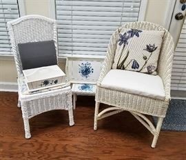White Wicker Side Chairs