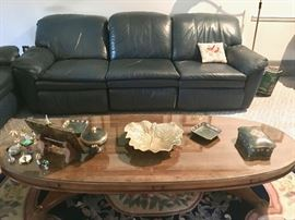 Lane leather recliner sofa* and vintage oval coffee table with glass top; plus, oval rug with matching runner. *Sofa is in good cosmetic condition, but one reclining seat is broken.
