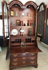 Beautiful and solid curved glass front secretary