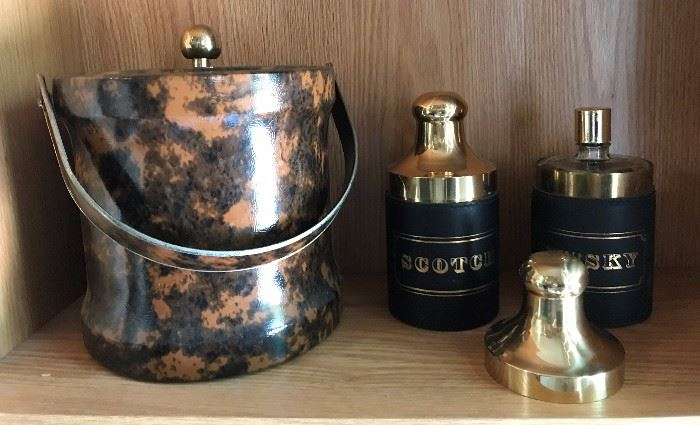 Vintage ice bucket, brass and glass in leather decanters