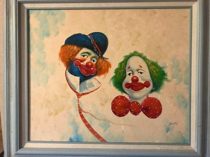 Not so scary clowns. Original art