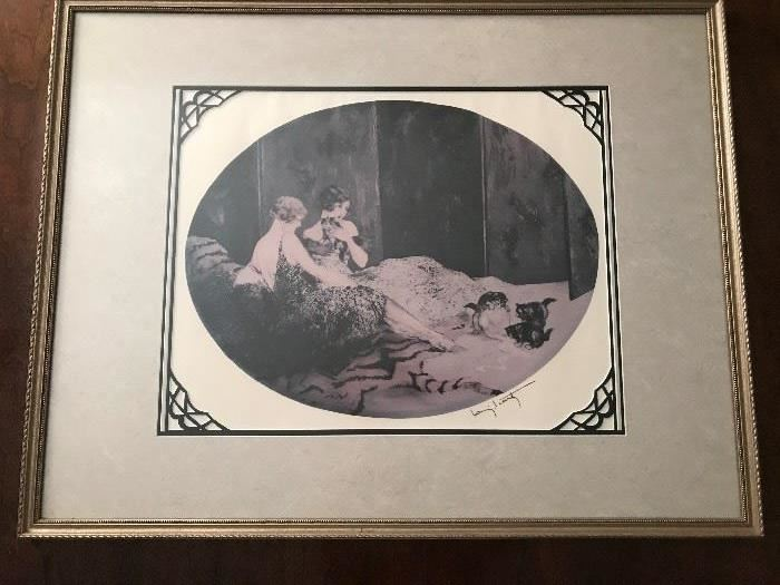 Larry L Carty  lithograph  Sirens with kittens