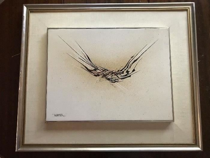 Original oil by Leonardo Nierman jungle bird
