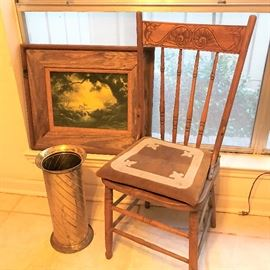 Delhart Winberg print , Old Texas oak chair with leather cushion