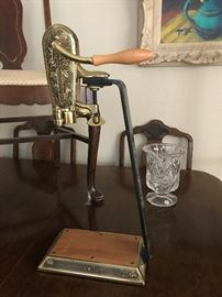 Brass and oak wine opener