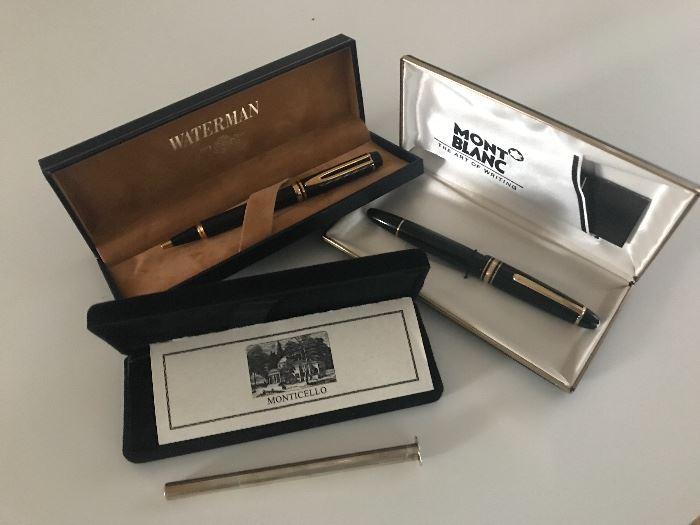 Mont blanc, Waterman pens.  Sterling silver Thomas Jefferson's Monticello pen