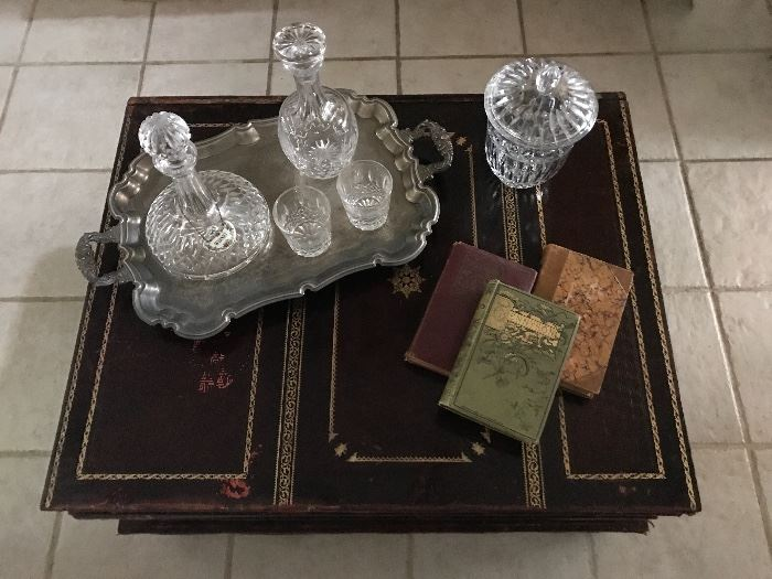 Maitland Smith books style leather coffee table with three drawers