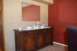 Art Nouveau-Deco Oak Beautiful Buffet Server Crendenza, Noritake Waynesboro China