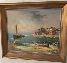 Awesome Signed Framed Canvas Oil Painting