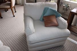 One of two matching armchairs.