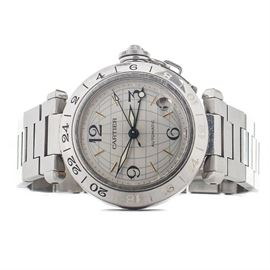 Cartier Pasha C GMT Globe 35mm Date Stainless Steel Automatic Wristwatch