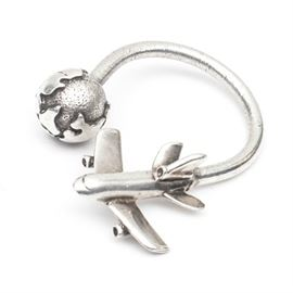 Tiffany & Co. Sterling Silver Airplane and Globe Keyring