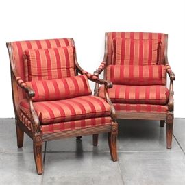 Walnut Framed Armchairs by Ethan Allen
