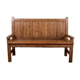 Antique Rustic Pine Bench