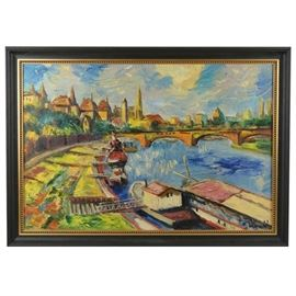 Shuster Cityscape Signed Original Oil Painting
