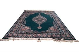 Hand-Knotted Jade Green Floral Wool Area Rug