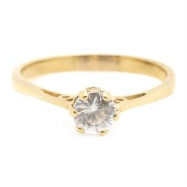 18K Yellow Cubic Zirconia Ring