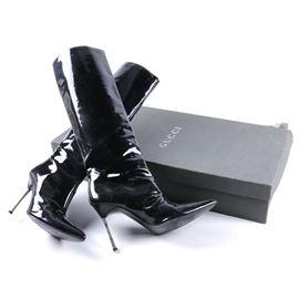 Gucci Patent Leather Stiletto Boots