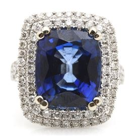 14K White Gold 9.50 CTS Sapphire and 1.39 CTW Diamond Ring