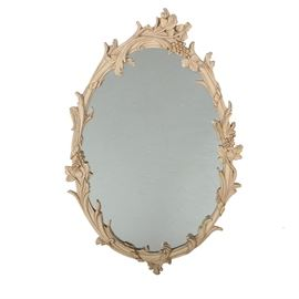 Oval Mirror with Grape Leaf Frame