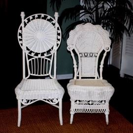 Victorian High-Back Wicker Chairs