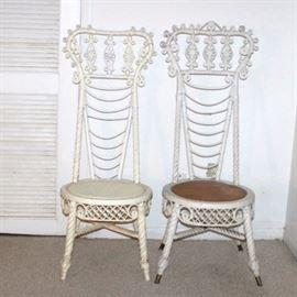 Matching Victorian White Wicker Reception Chairs