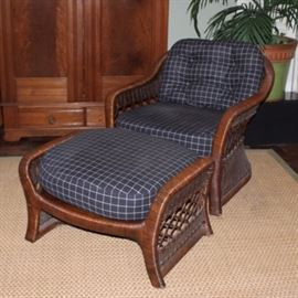 Ficks Reed Wicker Chair and Ottoman