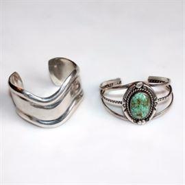 Vintage Sterling Silver Cuff Bracelets