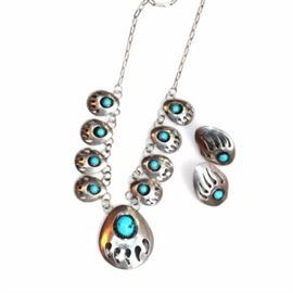 Sterling and Turquoise Navajo Bear Paw Necklace and Earrings