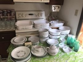 Lots and lots of corning ware, different patterns
