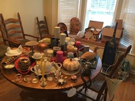 Candle holders, decorative pieces and dining table- all for sale