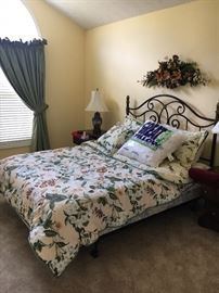 Queen Bed, mattress and box springs sold together.  Comforter and pillows sold as separate set
