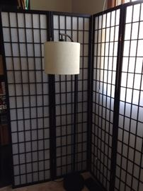 Japanese screen and floor lamp