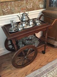 Rolling Tea Cart, Pewter Tea Service