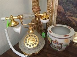 Modern day, cut crystal Victorian French Style telephone.