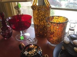 Decorative colored glass vases