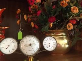 Floral arrangement in brass planter, made in France vintage barometer