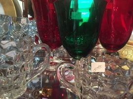 Ruby red water glasses Fostoria American Crystal