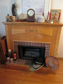 Portable fireplace lighted.