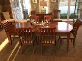 Cherry Dining room set with 10 chairs, Ethan Allan
